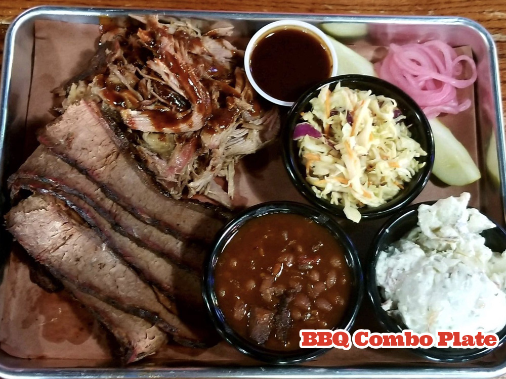 BBQ Combo Plate - Smoked Brisket & Pulled Pork with sides