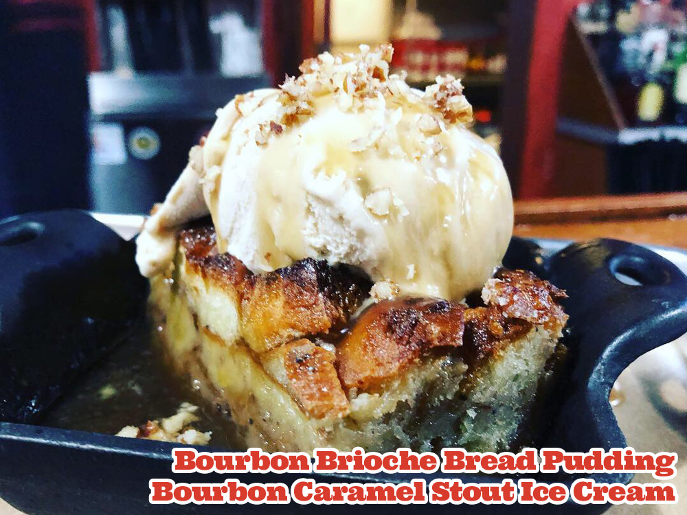 Bourbon Brioche Bread Pudding with PureJoy Bourbon Caramel Stout Ice Cream