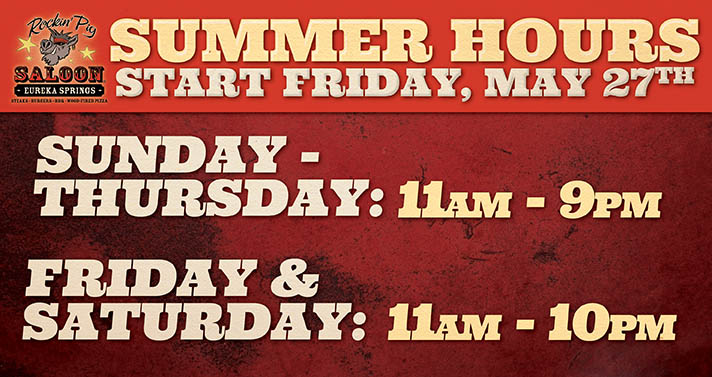 New Summer Hours Start Friday, May 27th